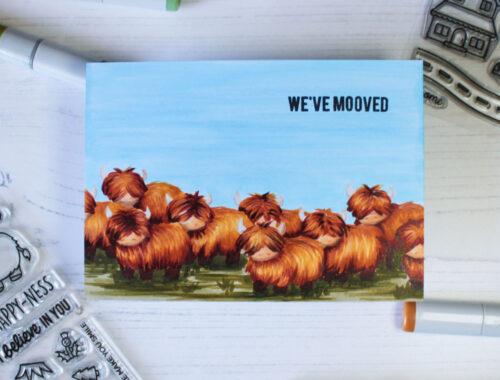 We're Mooving Handmade Card (Heffy Doodle)